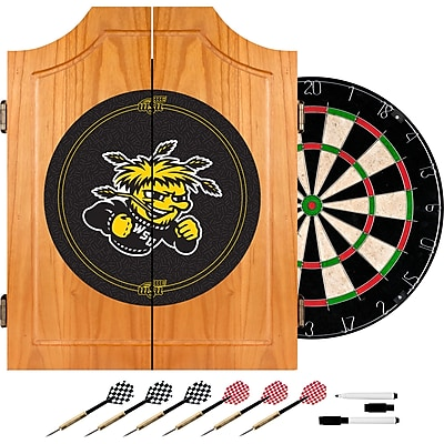 Trademark Global® Solid Pine Dart Cabinet Set, NCAA Wichita State University