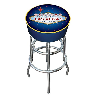 Trademark Global® Vinyl Padded Bar Stool, Blue, Las Vegas