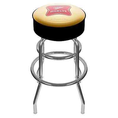 Trademark Global® Vinyl Padded Swivel Bar Stool, Yellow/Black, Miller High Life Logo