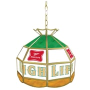 """Trademark Global® 16"""" Stained Glass Tiffany Lamp, Miller High Life"""