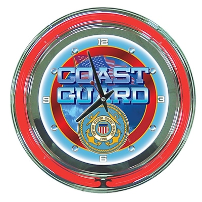 Trademark Global® Chrome Double Ring Analog Neon Wall Clock, United States Coast Guard