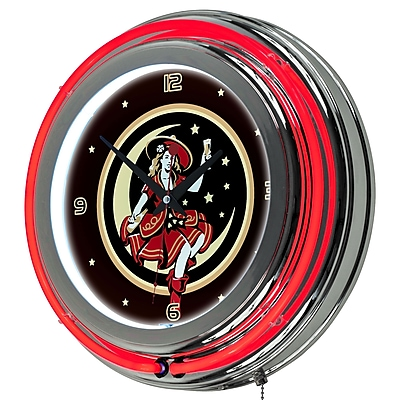 Trademark Global® Chrome Analog Neon Wall Clock, Miller High Life Girl in The Moon Vintage