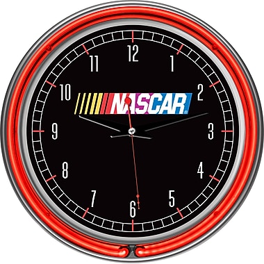 Trademark Global® Chrome Double Ring Analog Neon Wall Clock, NASCAR®