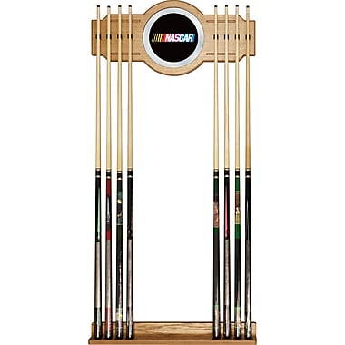 Trademark Global® Wood and Glass Billiard Cue Rack With Mirror, NASCAR
