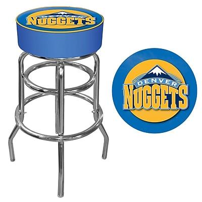 Trademark Global® Vinyl Padded Swivel Bar Stool, Blue, Denver Nuggets NBA