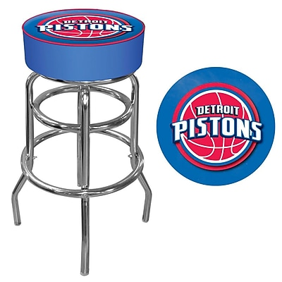 Trademark Global® Vinyl Padded Swivel Bar Stool, Blue, Detroit Pistons NBA