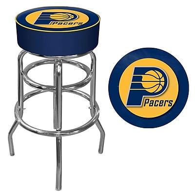 Trademark Global® Vinyl Padded Swivel Bar Stool, Blue, Indiana Pacers NBA