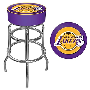 Trademark Global® Vinyl Padded Swivel Bar Stool, Purple, Los Angeles Lakers NBA
