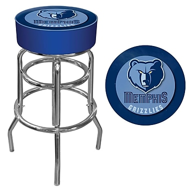 Trademark Global® Vinyl Padded Swivel Bar Stool, Blue, Memphis Grizzlies NBA