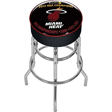 Trademark Global® Vinyl Padded Swivel Bar Stool, Black, Miami Heat 2013 NBA Champions