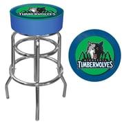 Trademark Global® Vinyl Padded Swivel Bar Stool, Blue, Minnesota Timberwolves NBA