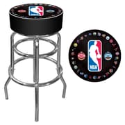 Trademark Global® Vinyl Padded Swivel Bar Stool, Black, NBA Logo With All Teams