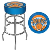 Trademark Global® Vinyl Padded Swivel Bar Stool, Blue, New York Knicks NBA
