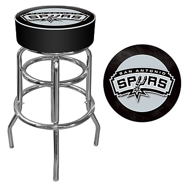 Trademark Global® Vinyl Padded Swivel Bar Stool, Black, San Antonio Spurs NBA