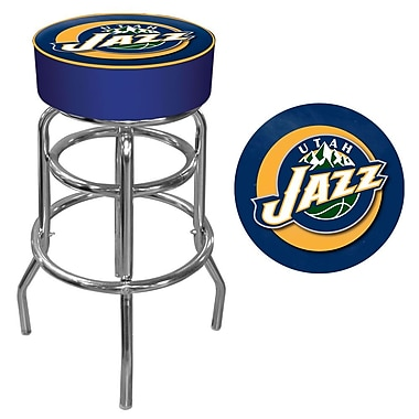 Trademark Global® Vinyl Padded Swivel Bar Stool, Blue, Utah Jazz NBA
