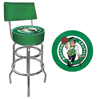 Trademark Global® Vinyl Padded Swivel Bar Stool With Back, Green, Boston Celtics NBA