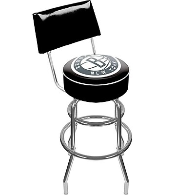 Trademark Global® Vinyl Padded Swivel Bar Stool With Back, Black, Brooklyn Nets NBA