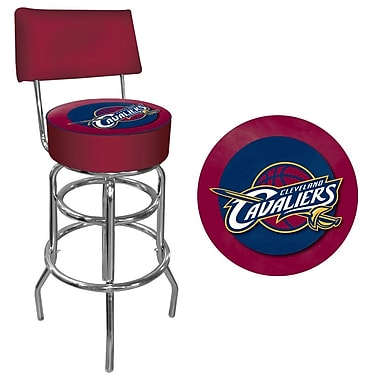 Trademark Global® Vinyl Padded Swivel Bar Stool With Back, Red, Cleveland Cavaliers NBA