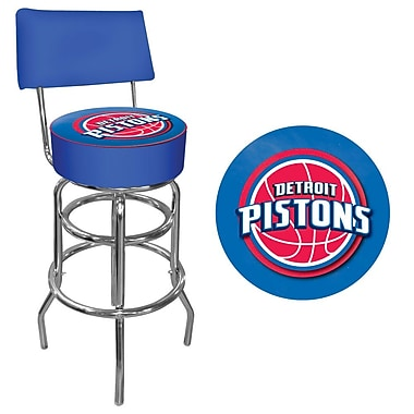 Trademark Global® Vinyl Padded Swivel Bar Stool With Back, Blue, Detroit Pistons NBA