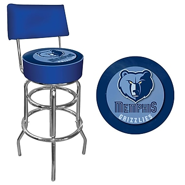 Trademark Global® Vinyl Padded Swivel Bar Stool With Back, Blue, Memphis Grizzlies NBA