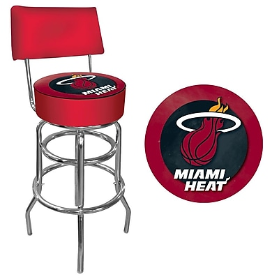 Trademark Global® Vinyl Padded Swivel Bar Stool With Back, Red, Miami Heat NBA