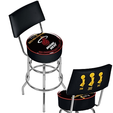 Trademark Global® Vinyl Padded Swivel Bar Stool With Back, Black, Miami Heat 2013 NBA Champions
