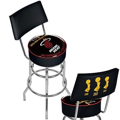 Trademark Global® Vinyl Padded Swivel Bar Stool With Back, Black, Miami Heat 2013 NBA Champions