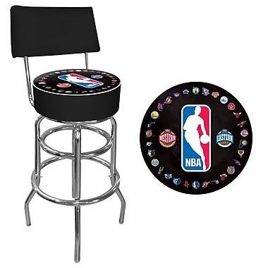 Trademark Global® Vinyl Padded Swivel Bar Stool With Back, Black, NBA Logo With All Teams