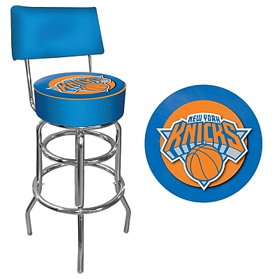 Trademark Global® Vinyl Padded Swivel Bar Stool With Back, Blue, New York Knicks NBA