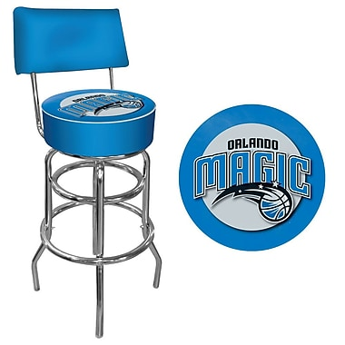 Trademark Global® Vinyl Padded Swivel Bar Stool With Back, Blue, Orlando Magic NBA
