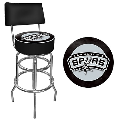Trademark Global® Vinyl Padded Swivel Bar Stool With Back, Black, San Antonio Spurs NBA