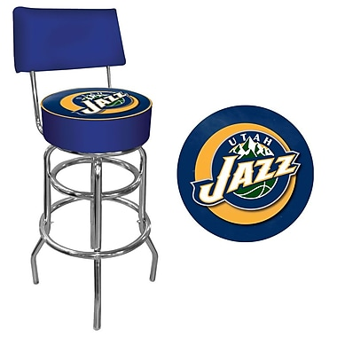 Trademark Global® Vinyl Padded Swivel Bar Stool With Back, Blue, Utah Jazz NBA