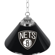"Trademark Global® 14"" Single Shade Bar Lamp, Black, Brooklyn Nets NBA"