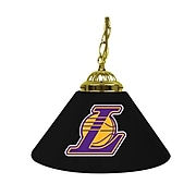 "Trademark Global® 14"" Single Shade Bar Lamp, Black, Los Angeles Lakers NBA"