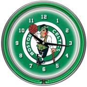 Trademark Global® Chrome Double Ring Analog Neon Wall Clock, Boston Celtics NBA