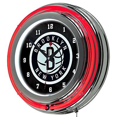 Trademark Global® Chrome Double Ring Analog Neon Wall Clock, Brooklyn Nets NBA