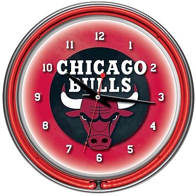 Trademark Global® Chrome Double Ring Analog Neon Wall Clock, Chicago Bulls NBA