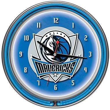 Trademark Global® Chrome Double Ring Analog Neon Wall Clock, Dallas Mavericks NBA