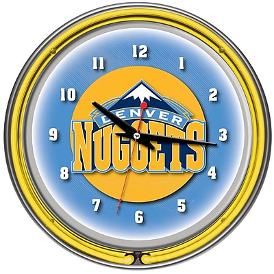 Trademark Global® Chrome Double Ring Analog Neon Wall Clock, Denver Nuggets NBA