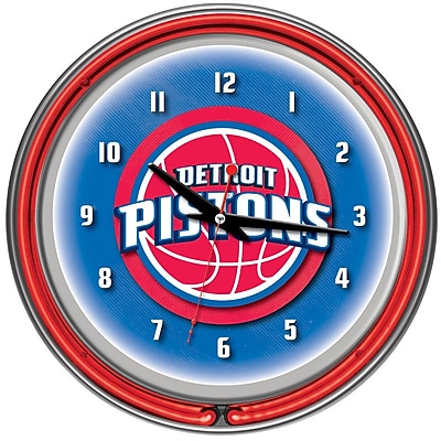 Trademark Global® Chrome Double Ring Analog Neon Wall Clock, Detroit Pistons NBA