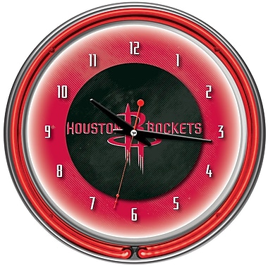 Trademark Global® Chrome Double Ring Analog Neon Wall Clock, Houston Rockets NBA