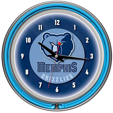 Trademark Global® Chrome Double Ring Analog Neon Wall Clock, Memphis Grizzlies NBA