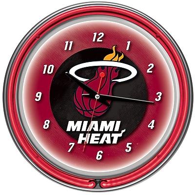 Trademark Global® Chrome Double Ring Analog Neon Wall Clock, Miami Heat NBA