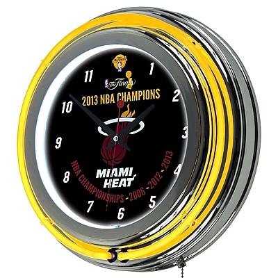 Trademark Global Chrome Double Ring Analog Neon Wall Clock, Miami Heat 2013 NBA Champions NBA 377482