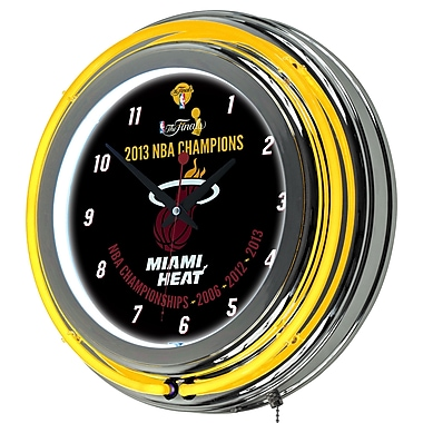 Trademark Global® Chrome Double Ring Analog Neon Wall Clock, Miami Heat 2013 NBA Champions NBA