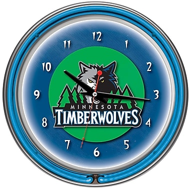 Trademark Global® Chrome Double Ring Analog Neon Wall Clock, Minnesota Timberwolves NBA