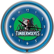 Trademark Global® Chrome Double Ring Analog Neon Wall Clock, Minnesota Timberwolves NBA