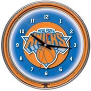 Trademark Global® Chrome Double Ring Analog Neon Wall Clock, New York Knicks NBA