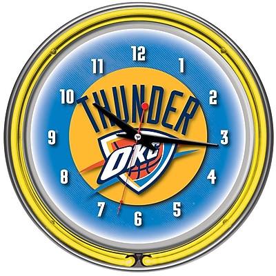 Trademark Global® Chrome Double Ring Analog Neon Wall Clock, Oklahoma City Thunder NBA