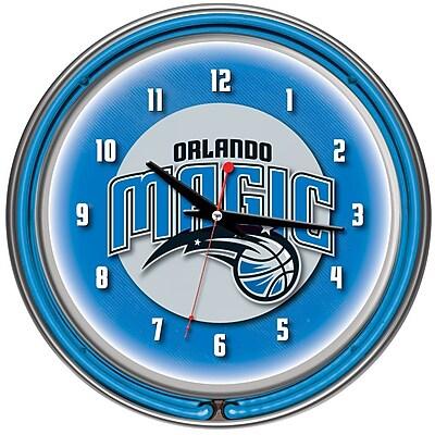 Trademark Global® Chrome Double Ring Analog Neon Wall Clock, Orlando Magic NBA